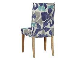 Dekoria Sukienka na krzesło Henriksdal krótka, turkusowo-szaro-granatowe kwiaty, krzesło Henriksdal, Mosaik/Oslo/Miranda