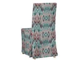 Dekoria Sukienka na krzesło Henriksdal długa, zygzaki w kolorystyce turkusowo-różowo-szarej, krzesło Henriksdal, Summer