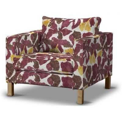 Dekoria Pokrowiec na fotel Karlstad, krótki, żółto-brązowe kwiaty, Fotel Karlstad, Mosaik/Oslo