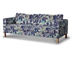 Dekoria Pokrowiec na sofę Karlstad rozkładaną, krótki, turkusowo-szaro-granatowe kwiaty, Sofa Karlstad 3-os rozkładana, Mosaik/Oslo