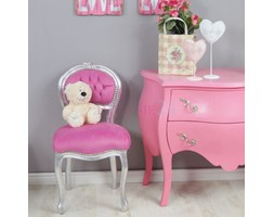 Krzesło seria Paris, różowy plusz, srebrna rama.