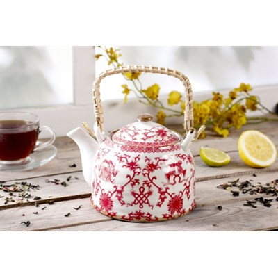 Dzbanek ceramiczny z zaparzaczem AZJATYCKIE MOTYWY 0,8 l -- bia�y - rabat 10 z� na pierwsze zakupy!
