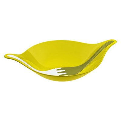 Misa do sałaty ze sztućcami oliwkowa Leaf M KZ-3692104