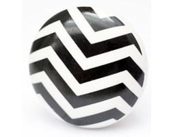 Gałka ceramiczna w czarne zygzaki