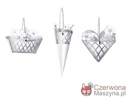 3 Dekoracje wiszące Rosendahl Karen Blixen Świąteczna Róża, srebrne