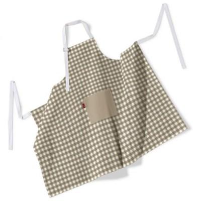 Dekoria Fartuch szefa kuchni męski, beżowo biała kratka (1,5x1,5cm), 123x100 cm, Quadro