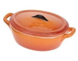 Ceramiczny garnek z pokrywką, owalne naczynie żaroodporne, 200 ml - pomarańczowy