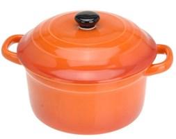 Ceramiczny garnek z pokrywką, naczynie żaroodporne 300 ml - pomarańczowy