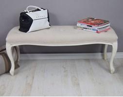Stylowa ławka z serii AMSTERDAM, gięte, kremowe nogi, pikowane, beżowe siedzisko.