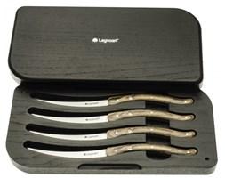 Legnoart Noże do Steków - Zestaw 4 Noży w Etui - Jesion Jasny