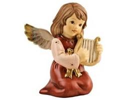Anioł grający na harfie - bordowy