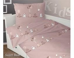 Pościel satynowa dla dzieci Greno Sweet Bear 160x200 Beż