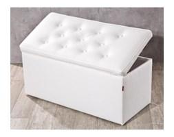 Dekoria Skrzynia tapicerowana z guzikami, kremowa biel (eko-skóra), 90x40x40cm, Eco-leather