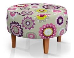 Dekoria Podnóżek okrągły, kolorowe kwiaty na szaro-beżowym tle, Ø60x40cm, Fleur