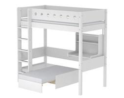 Łóżko MDF wysokie krótsze z prostą drabinką,sofą i biurkiem click-on,biały/biały