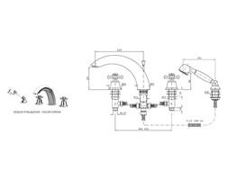Zucchetti Delfi bateria wannowa 4-otworowa mosiądz Z46246.8008T