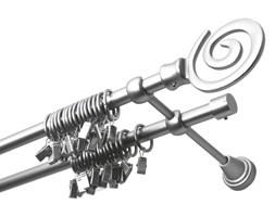 Karnisz metalowy kpl O 16 podwójny satyna nikiel milena - 200 cm