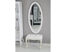 Owalne lustro, ozdobna, drewniana rama, kolor biały.