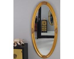 Owalne lustro, drewniana, ozdobna rama, kolor złoty.