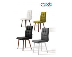 Krzesło comfort skórzane styl skandynawski pikowane siedzisko z