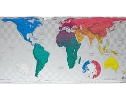 Magnetyczna mapa świata Future Map 101x57 cm, niebiesko-różowe odcienie