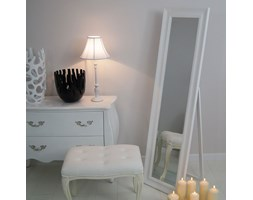 Lustro stojące, biała, drewniana rama.