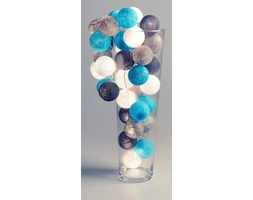 Cotton Ball Lights :: Grey & aqua 50 kul