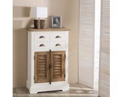 Dekoria Komoda Brighton 4 szuflady + drzwi z drewna tekowego white&natural, 70x40x111cm
