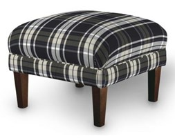 Dekoria Podnóżek do fotela, krata czarno-biała, 56x56x40 cm, Bristol