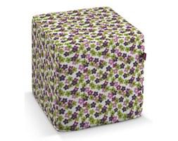 Dekoria Pokrowiec na pufę kostke, fioletowo-zielone kwiatuszki na jasnym tle, kostka 40x40x40 cm, Fleur