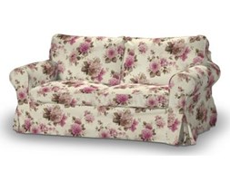 Dekoria Pokrowiec na sofę Ektorp 2-osobową, rozkładaną STARY MODEL, różowo-beżowe róże na kremowym tle, Sofa Ektorp 2-osobowa rozkładana, Mirella