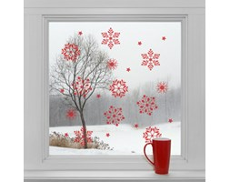 Elektrostatyczna naklejka Czerwone śnieżynki