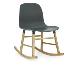 Form Normann Copenhagen zielone krzesło bujane, dębowe