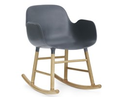 Form Normann Copenhagen niebieski fotel bujany, dębowy