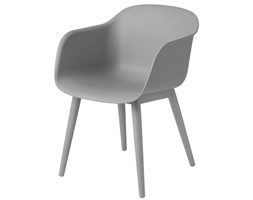 Muuto szare krzesło Fiber na drewnianej ramie