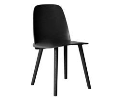 Muuto Nerd czarne, wygodne krzesło drewniane w skandynawskim stylu