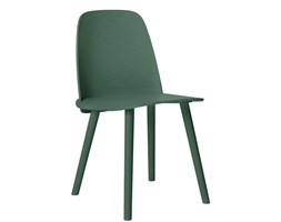 Muuto Nerd zielone, wygodne krzesło drewniane w skandynawskim stylu