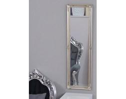 Barokowe, prostokątne lustro, drewniana rama, kolor srebrny.