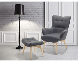 Fotel ciemnoszary + pufa - fotel tapicerowany - krzeslo - VEJLE