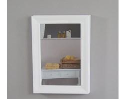 Wisząca, przesuwna szafka łazienkowa z lustrem w drewnianej, białej ramie.