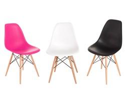 Krzesło P016W PP czarne, drewniane nogi D2