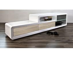 Stolik TV Screen Illuminato 180 cm, 2 szuflady, śnieżnobiały/dąb - Eran Actona Company (H000016185)