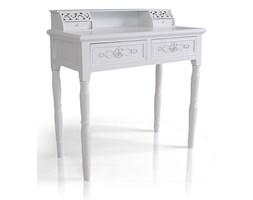 Sekretarzyk , biurko z serii Romantic, ornamenty, ażurowe zdobienia, toczone nogi, matowa biel