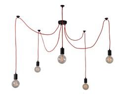 SPIDER - Lampa wisząca 5-punktowa Czarny kabel Czerwony