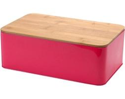 Metalowy chlebak z deską do krojenia, 2w1 - różowy