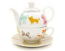 3-częściowy zestaw do herbaty kolorowe pieski