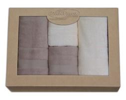 Zestaw 4 ręczników bambusowych Moreno Krem + Beż