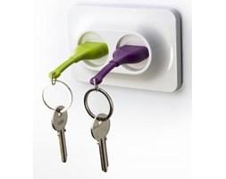 Naścienny uchwyt z zawieszkami na klucze QUALY Double Unplug, zielony/fioletowy