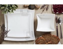 Serwis obiadowy KWADRATY na 6 osób (18 el.) -- srebrny szary biały - rabat 10 zł na pierwsze zakupy!