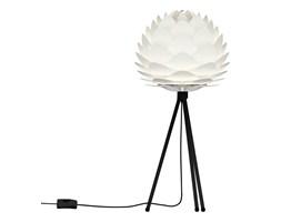 SILVIA - Lampa stojąca abażur Biały Ø34cm Statyw Czarny 37cm